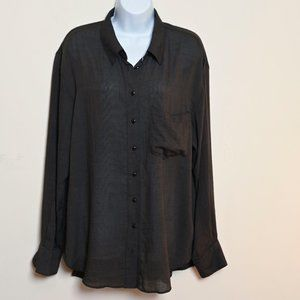 Free People Dark Brown Button Up Shirt Oversized